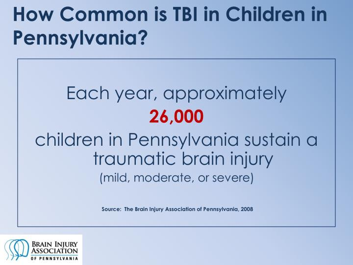 How Common is TBI in Children in Pennsylvania?