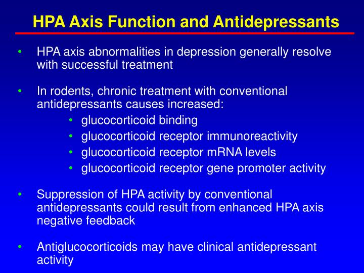 HPA Axis Function and Antidepressants