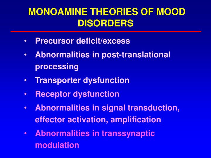 MONOAMINE THEORIES OF MOOD DISORDERS