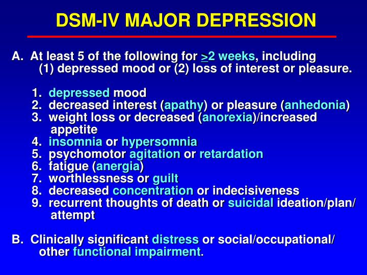 DSM-IV MAJOR DEPRESSION