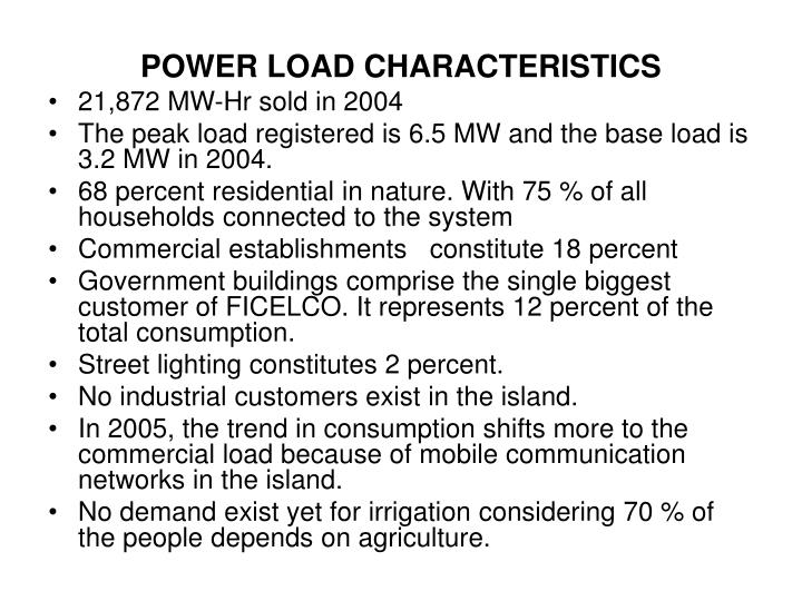 POWER LOAD CHARACTERISTICS