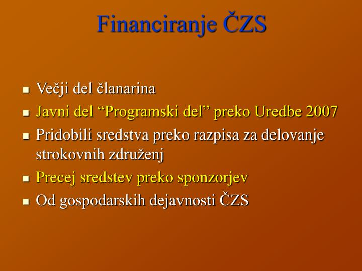 Financiranje ČZS