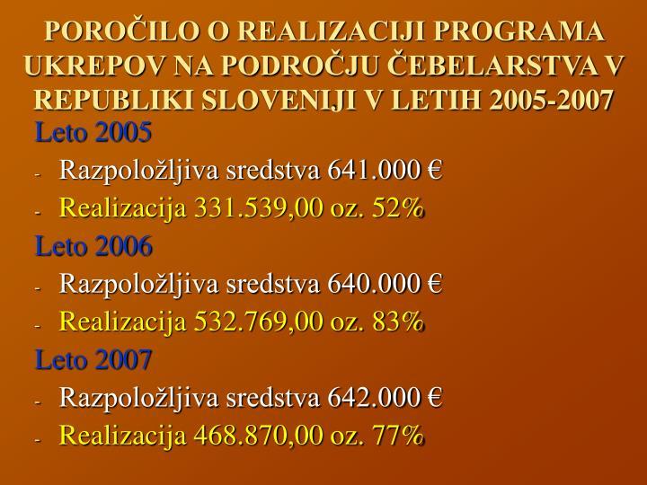 POROČILO O REALIZACIJI PROGRAMA UKREPOV NA PODROČJU ČEBELARSTVA V REPUBLIKI SLOVENIJI V LETIH 2005-2007