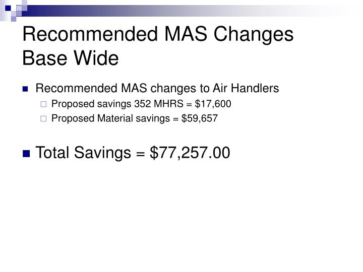 Recommended MAS Changes Base Wide