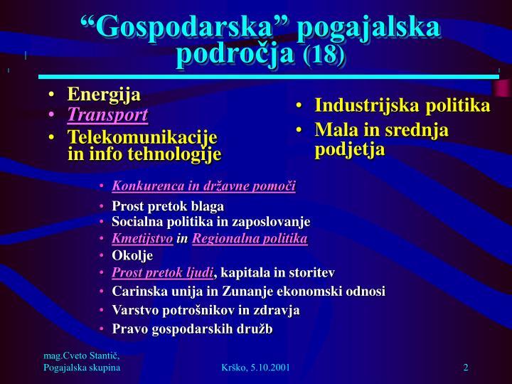 """""""Gospodarska"""" pogajalska področja"""