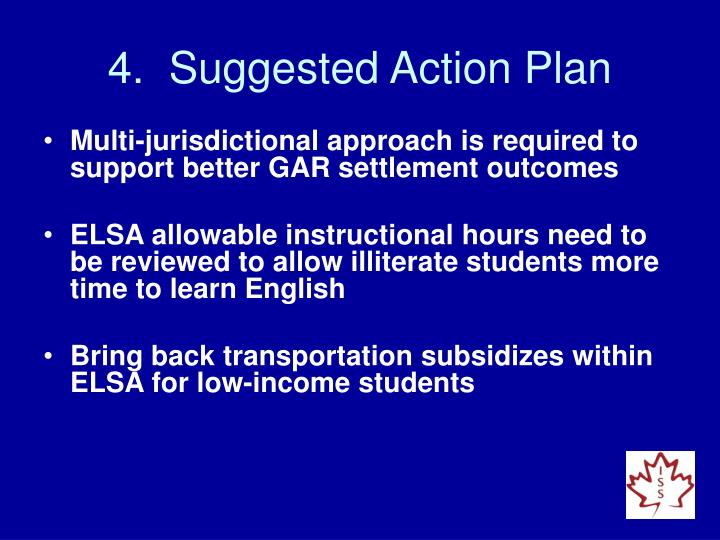 4.  Suggested Action Plan