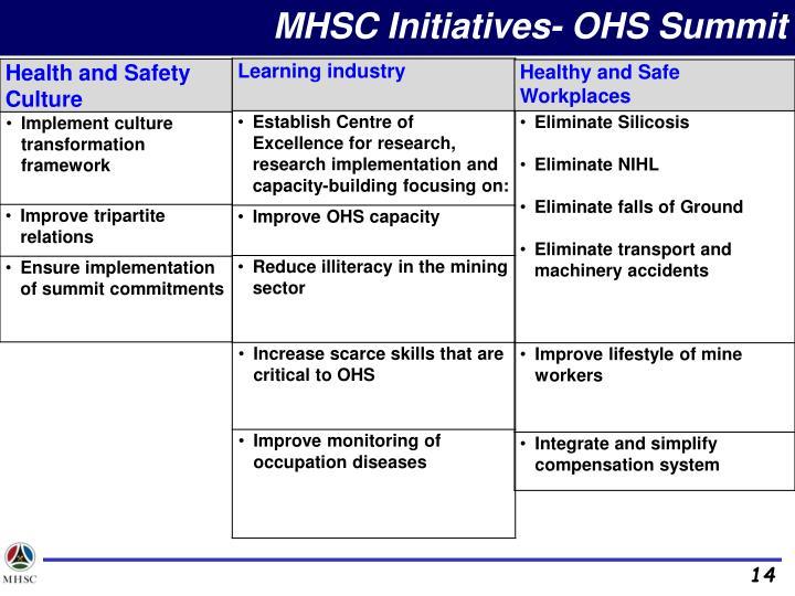 MHSC Initiatives- OHS Summit