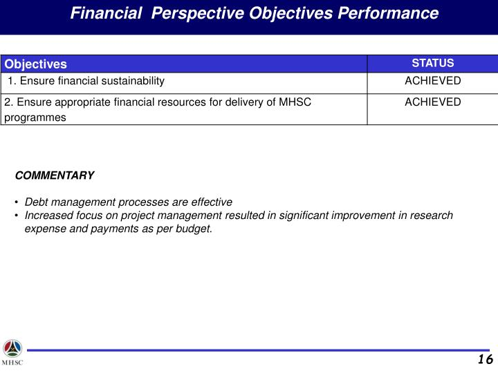 Financial  Perspective Objectives Performance