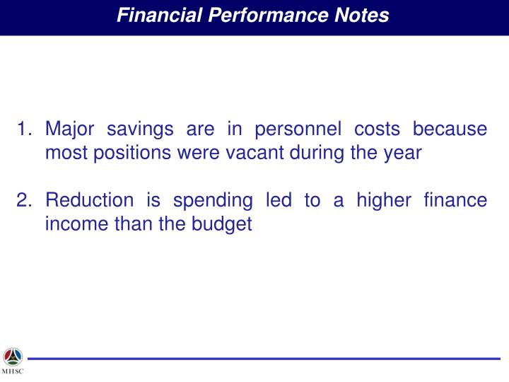Financial Performance Notes