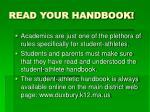 read your handbook