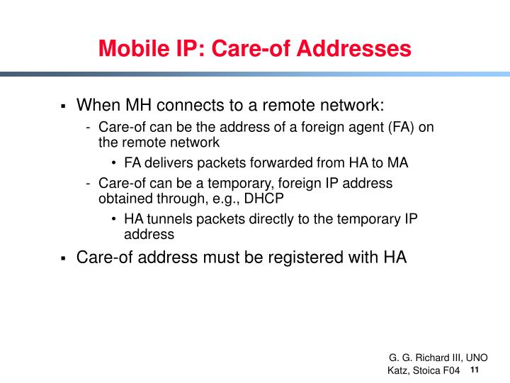 Mobile IP: Care-of Addresses