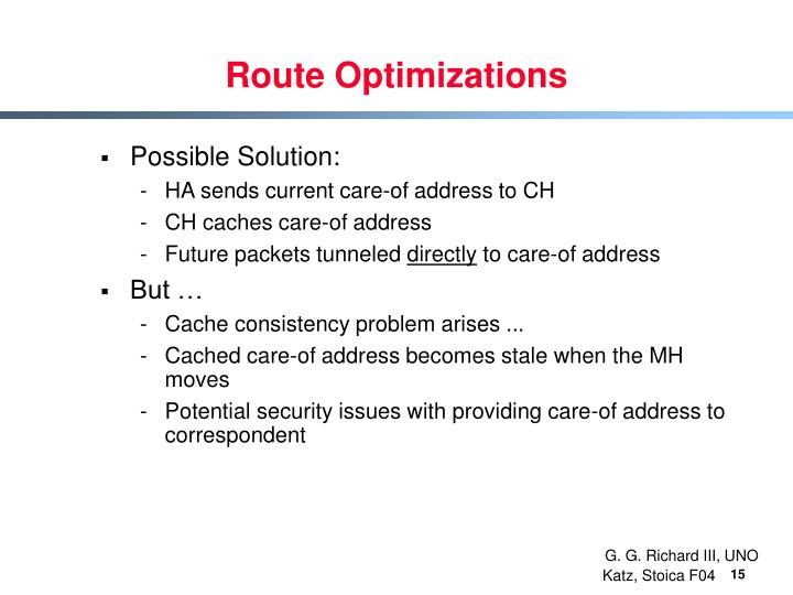 Route Optimizations