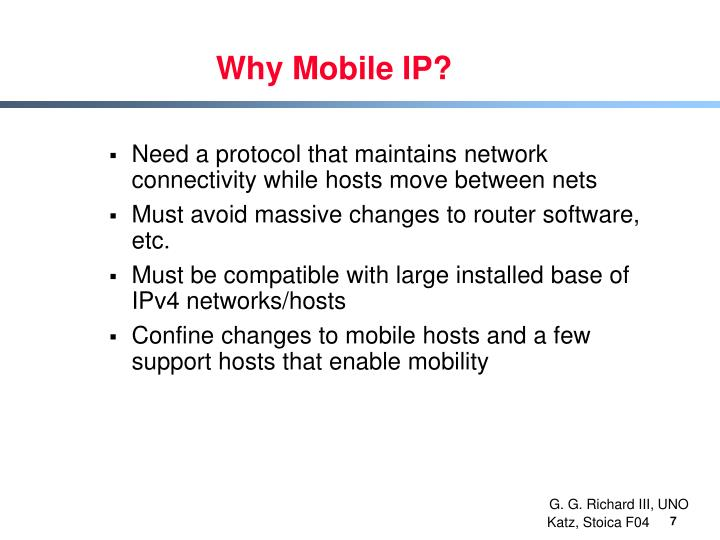 Why Mobile IP?