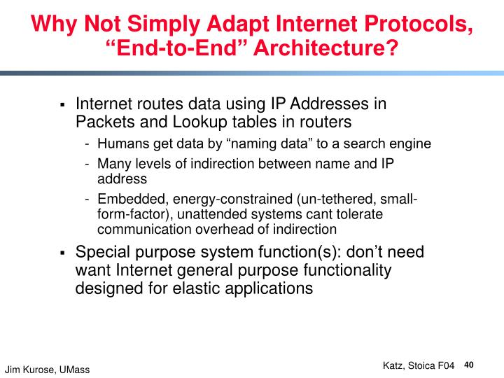 Why Not Simply Adapt Internet Protocols,