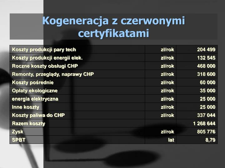 Kogeneracja z czerwonymi certyfikatami