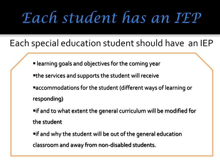Each student has an IEP