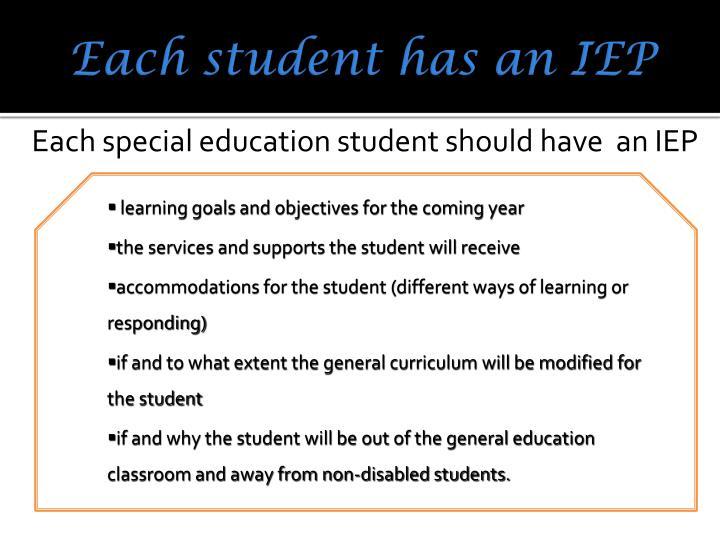 Each student has an IEP