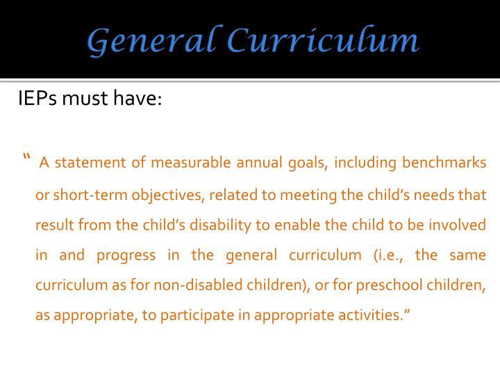 General Curriculum