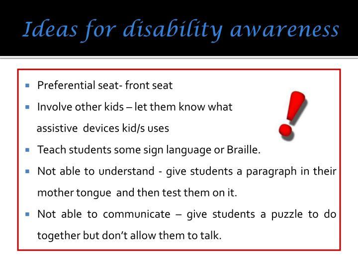 Ideas for disability awareness