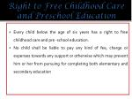 right to free childhood care and preschool education