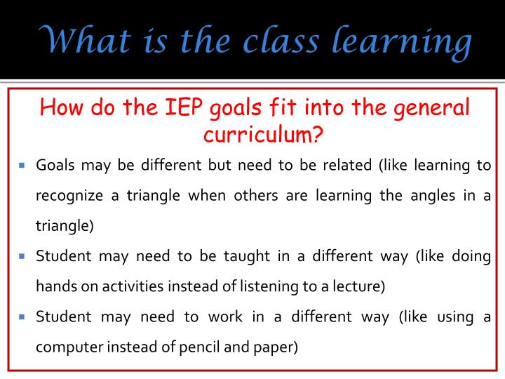 What is the class learning