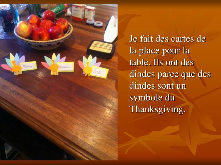 Je fait des cartes de la place pour la table. Ils ont des dindes parce que des dindes sont un symbole du Thanksgiving.