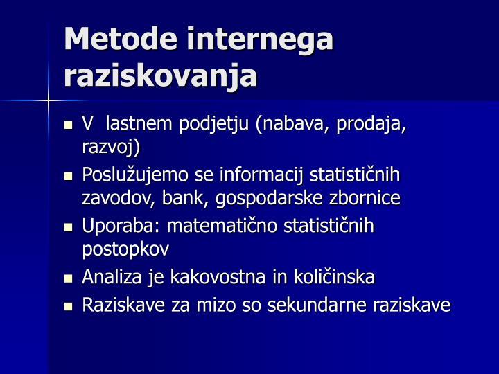 Metode internega raziskovanja