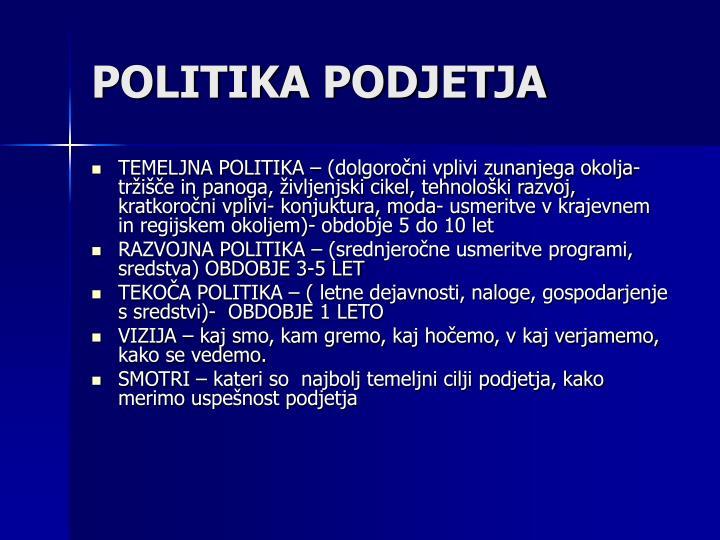 POLITIKA PODJETJA