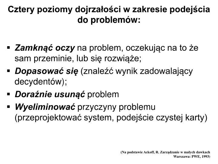 Cztery poziomy dojrzałości w zakresie podejścia do problemów: