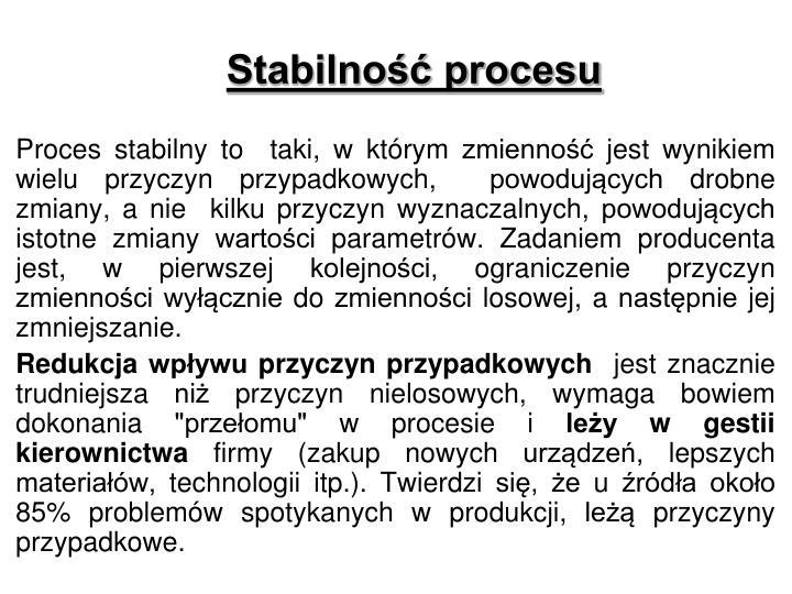 Stabilność procesu