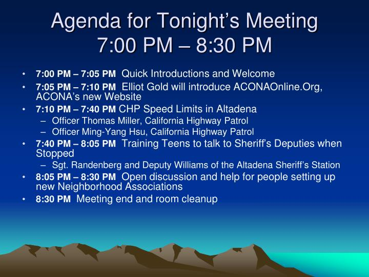 Agenda for Tonight's Meeting