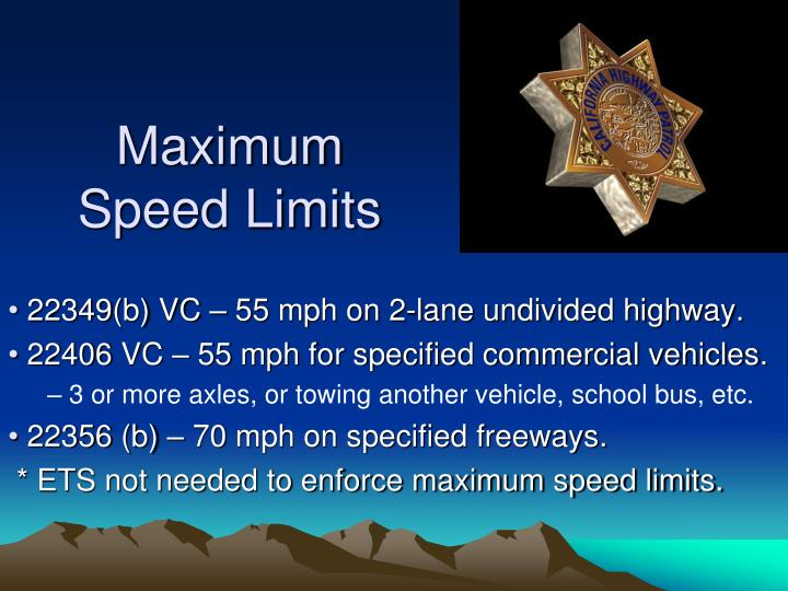 Maximum Speed Limits