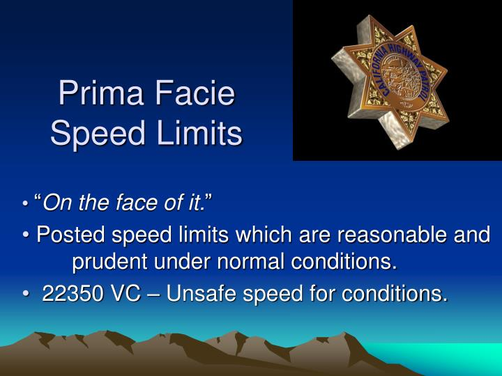 Prima Facie Speed Limits