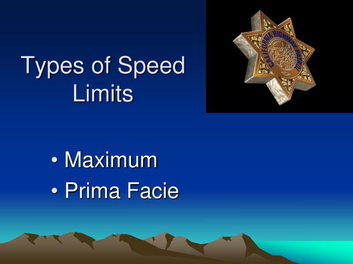 Types of Speed Limits