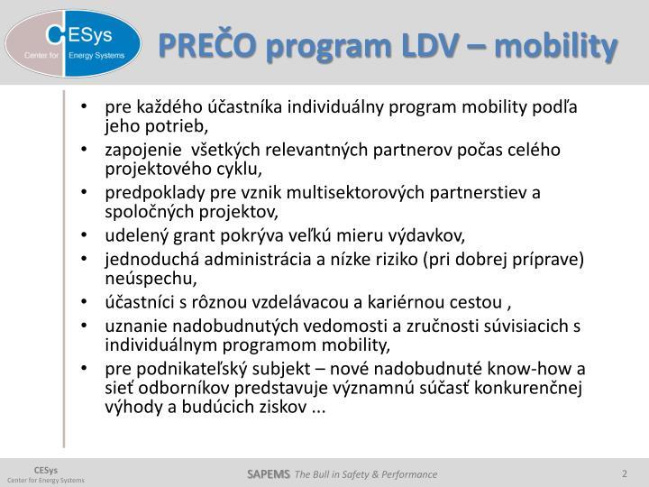 PREČO program LDV – mobility