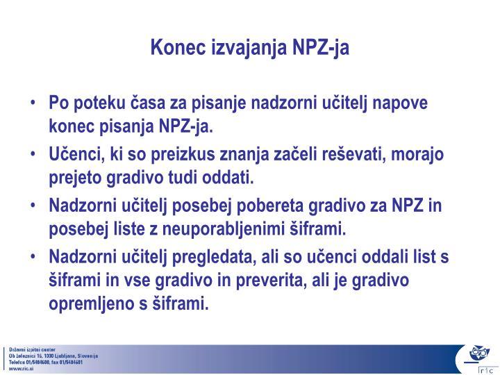 Konec izvajanja NPZ-ja