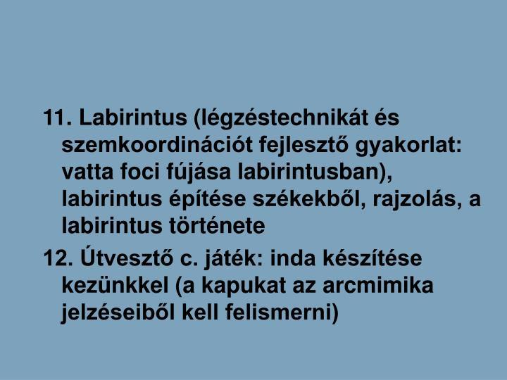 11. Labirintus (lgzstechnikt s szemkoordincit fejleszt gyakorlat: vatta foci fjsa labirintusban), labirintus ptse szkekbl, rajzols, a labirintus trtnete