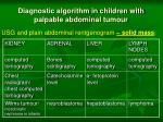 diagnostic algorithm in children with palpable abdominal tumour1