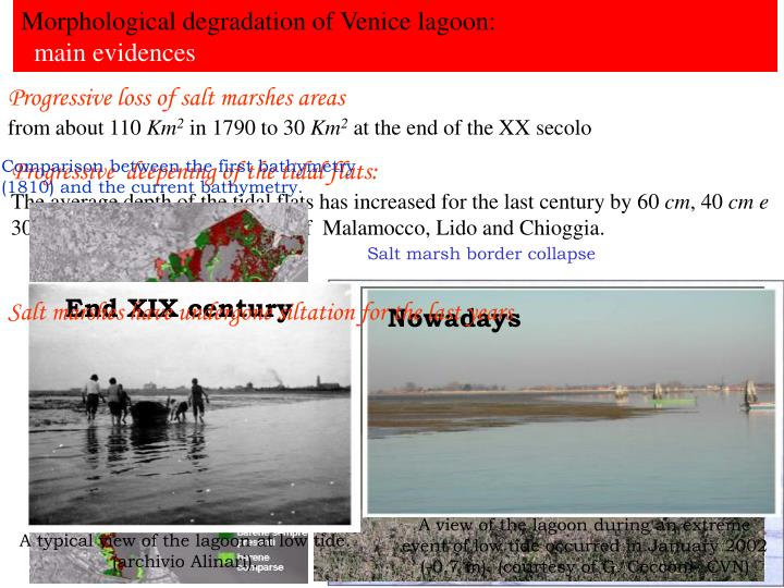 Morphological degradation of Venice lagoon: