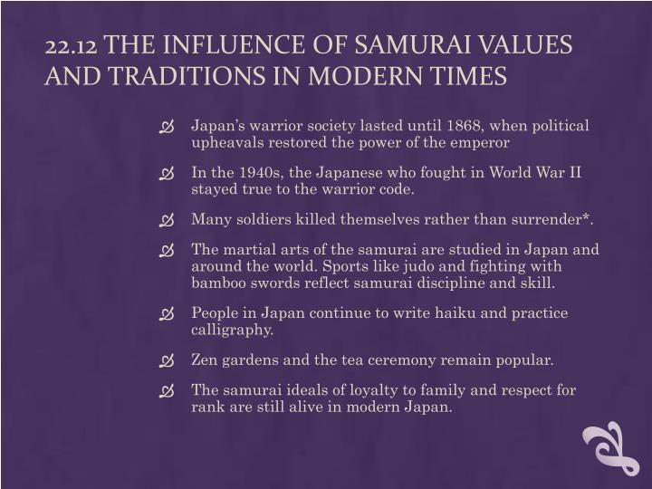 22.12 The Influence of Samurai Values and Traditions in Modern Times