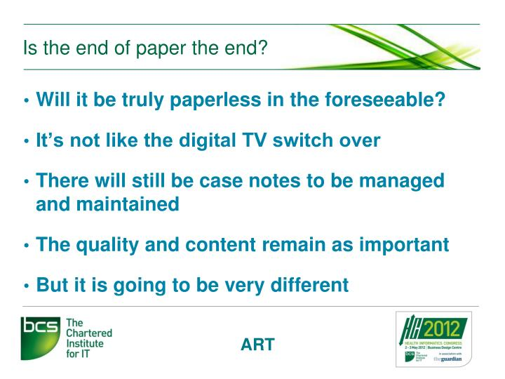 Is the end of paper the end?