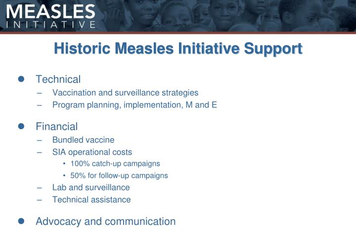 Historic Measles Initiative Support