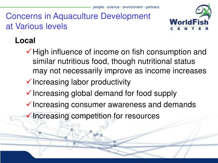 Concerns in Aquaculture Development at Various levels