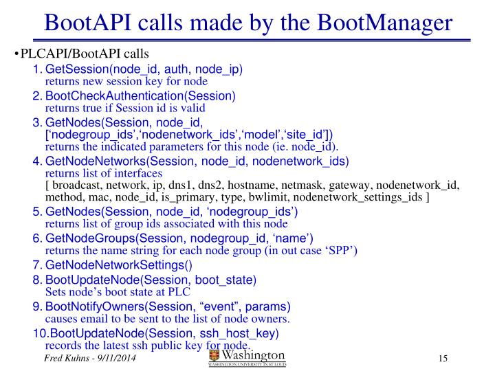 BootAPI calls made by the BootManager