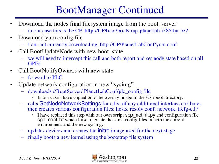 BootManager Continued