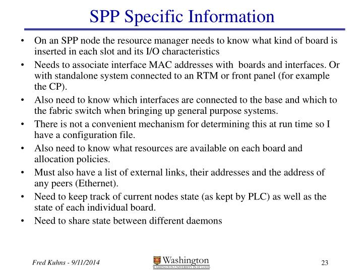 SPP Specific Information