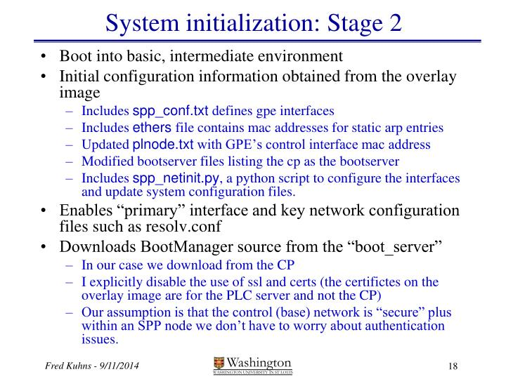 System initialization: Stage 2