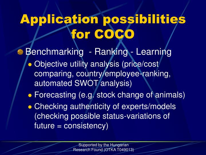 Application possibilities for COCO