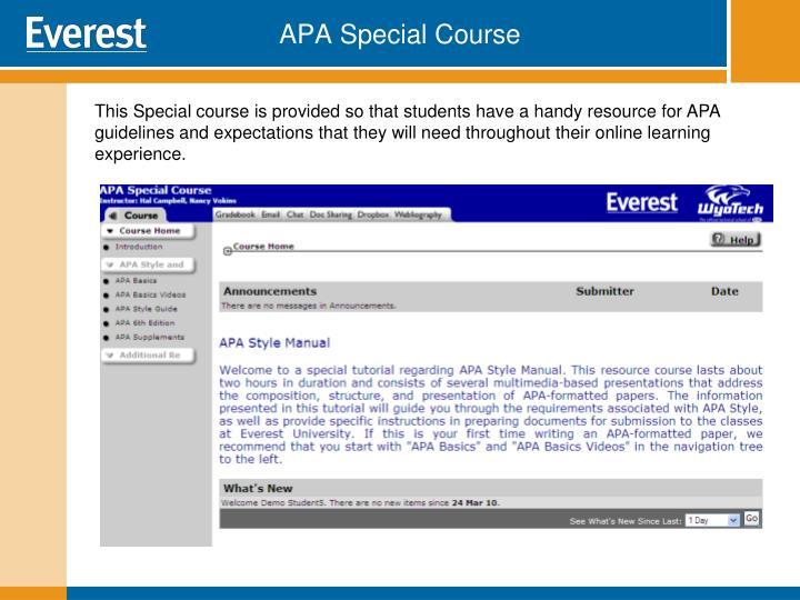 APA Special Course