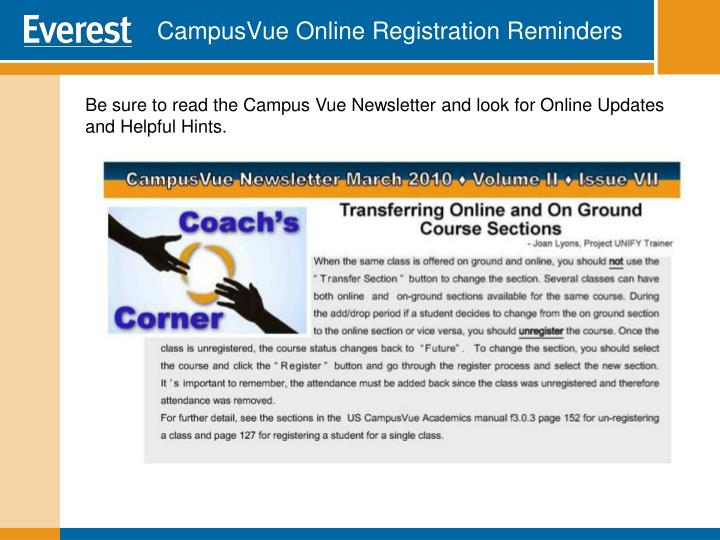 CampusVue Online Registration Reminders